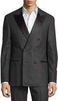 Brunello Cucinelli Double-Breasted Two-Piece Wool-Blend Suit, Grey/Black