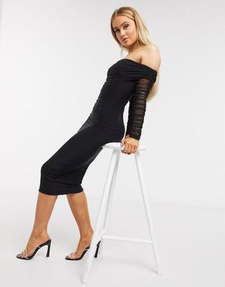 I SAW IT FIRST mesh sleeve layered midi dress in black