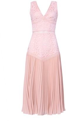 True Decadence Blush Pink Lace Pleated Midi Dress