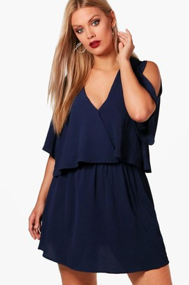 boohoo Plus Ruffle Open Shoulder Dress