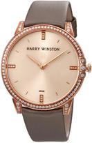 Harry Winston Midnight Champagne Sunray Dial 18kt Rose Gold Diamond Satin Ladies Watch
