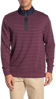 Bugatchi Striped Quarter Zip Pullover Sweater
