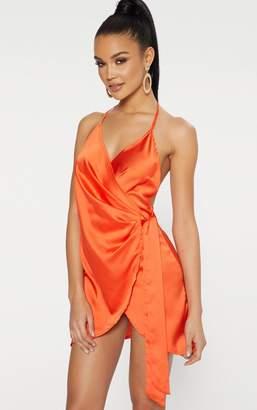 PrettyLittleThing Orange Satin Halterneck Wrap Bodycon Dress