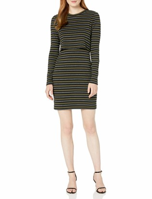 Nicole Miller Women's Vintage Stripe Pop Over Sweatshirt Dress