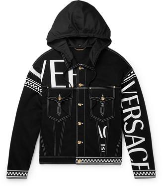Versace Logo-Print Hooded Denim Jacket