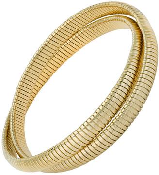 Janis Savitt High Polished Yellow Gold Plated Small Double Cobra Bracelet