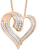 KATARINA Round and Baguette Cut Diamond Double Row Heart Pendant with Chain in 10k Rose Gold (1/2 cttw) (G-H Color VS Clarity)