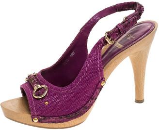 Christian Dior Purple Canvas And Python Trim Slingback Sandals Size 38