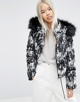 Asos Cropped Padded Jacket With Fur Hood