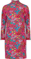 Marc Jacobs Floral-print Stretch-jersey Turtleneck Mini Dress - Fuchsia
