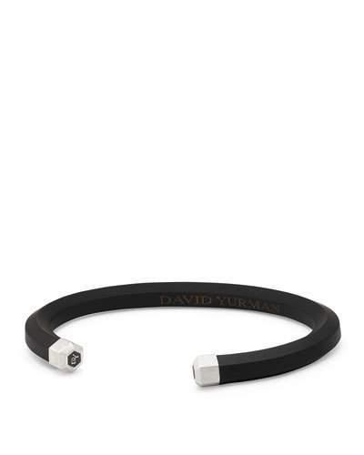 David Yurman Men's Rubber & Sterling Silver Hex Cuff Bracelet, Black