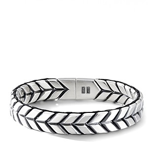 David Yurman Sterling Silver Chevron Woven Bracelet