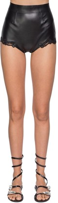 Ermanno Scervino High Waist Faux Leather & Lace Shorts