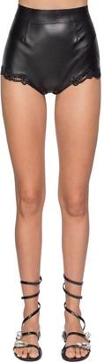 Ermanno Scervino High Waist Faux Leather & Lace Shorts