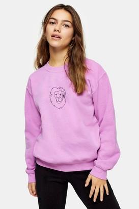 Topshop Womens Petite Pink Lion Line Sweatshirt - Grey Marl