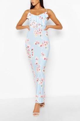 boohoo Floral Print Ruffle Maxi Dress