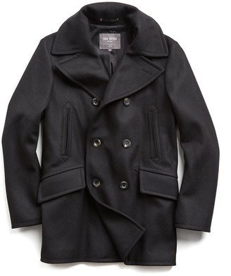 Todd Snyder + Private White V.C. + Private White Manchester Wool Peacoat in Black