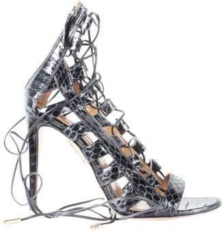 Aquazzura Black Python Lace Up Cage Sandals Size 37