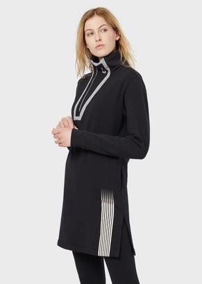 Ea7 Jersey Fleece Dress With High Collar And Zip