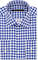 Sean John Classic/Regular Fit Men's Classic-Fit Blue Houndstooth Dress Shirt