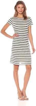 Stateside Women's Painterly Charcoal Stripe S/s Dress