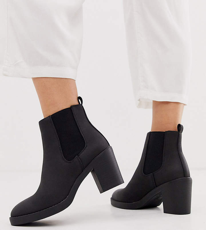 14303d1ae35 Wide Fit chunky heeled chelsea boots in black