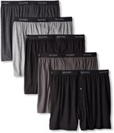 Hanes Men's 5Pack 100% Cotton Knit Boxer Shorts Boxers Underwear, 2XL
