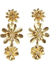 Oscar de la Renta Gilded Floral Drop Earrings