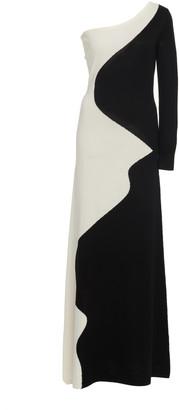 Victor Glemaud Color-Block One-Shoulder Merino Wool Maxi Dress