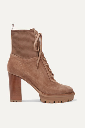 Gianvito Rossi Martis 90 Lace-up Leather-trimmed Suede Ankle Boots - Camel