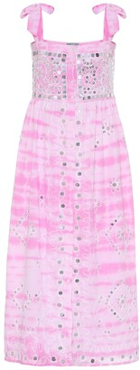 Juliet Dunn Exclusive to Mytheresa Embellished tie-dye cotton midi dress