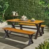 Christopher Knight Home Sanibel 3pc Acacia Wood Dining Set - Teak Finish with Rustic Metal