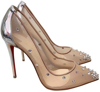 Christian Louboutin Degrastrass Beige Cloth Heels