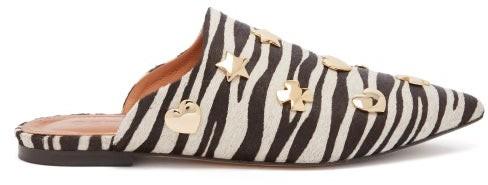 Osman Heidi Zebra Print Calf Hair Backless Loafers - Womens - Black White
