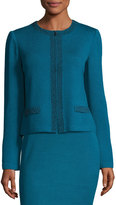 St. John Bead-Embellished Zip-Front Jacket, Blue/Black