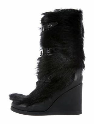 Celine Gray Fox Boots Black