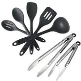 """StarPack Value Bundle 0014 - Premium 5-Pc Silicone Kitchen Utensils (10.6"""") and 2-Pc BBQ Tongs (9""""& 12"""") - Gray Black"""