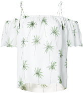 Milly palm print off-shoulder top - women - Silk/Polyester - XS