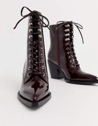 Jeffrey Campbell Elmace lace up heel leather boot-Red