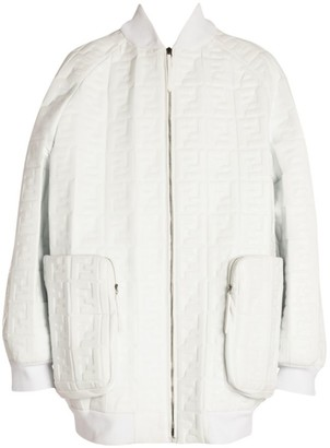 Fendi Embossed Logo Leather Oversized Jacket