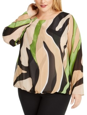 Alfani Plus Size Bubble-Hem Blouse, Created for Macy's