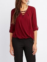 Charlotte Russe Lace-Up Surplice Blouse