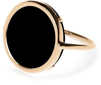 ginette_ny Black Onyx Disc Ring - Rose Gold