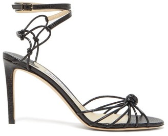 Jimmy Choo Lovella 85 Knotted Lizard-effect Leather Sandals - Black