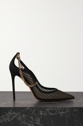 Aquazzura Bond Street 105 Chain-embellished Suede And Mesh Pumps - Black