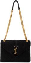 Saint Laurent Black Suede Medium Envelope Bag