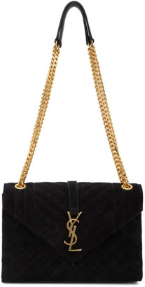 Saint Laurent Black Suede Medium Envelope Bag