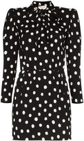 Saint Laurent pussy-bow polka-dot mini dress