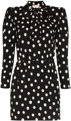 Saint Laurent pussy-bow polka-dot mini dress