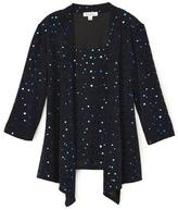 Tradition Women's Sequin Fooler Top With Waterfall Front